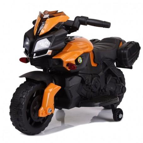 MOTO ELETTRICA PER BAMBINI SPEED ARANCIONE CON SEDILE IN PELLE SUONI E LED LT875 (@)