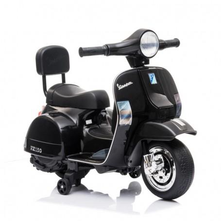 MOTO ELETTRICA PER BAMBINI MINI VESPA PX 150 PIAGGIO NERA 6V CON ING.MP3 E LED LT913